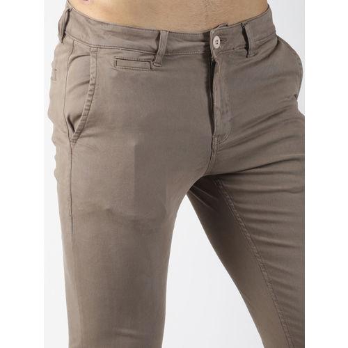 Blue Saint Men Taupe Slim Fit Solid Regular Trousers