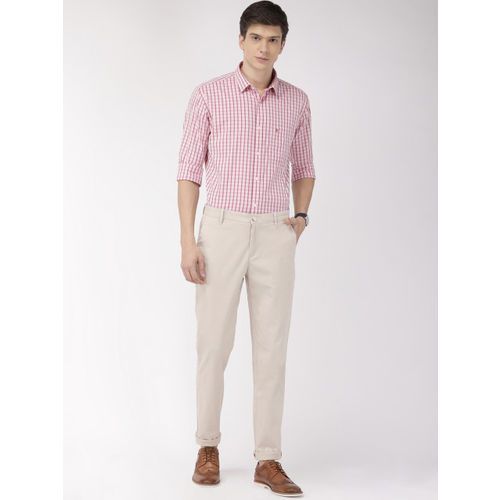 Raymond Men Beige Slim Fit Solid Chinos