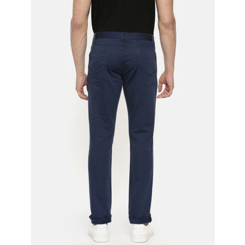 U.S. Polo Assn. Men Navy Blue Solid BRANDON Slim Tapered Fit Regular Trousers