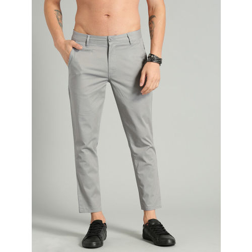 Roadster Men Grey Slim Tapered Fit Solid Chinos