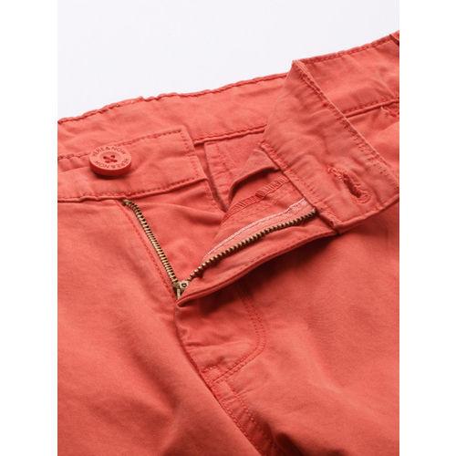 HERE&NOW Men Orange Slim Fit Solid Chinos