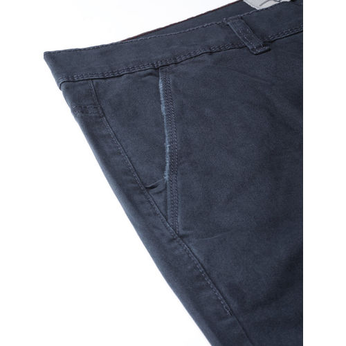 Roadster Men Navy Blue Slim Fit Solid Regular Trousers