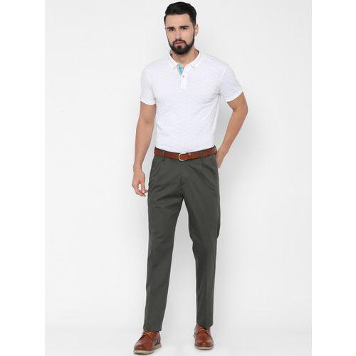 Allen Solly Men Grey Regular Fit Solid Regular Trousers