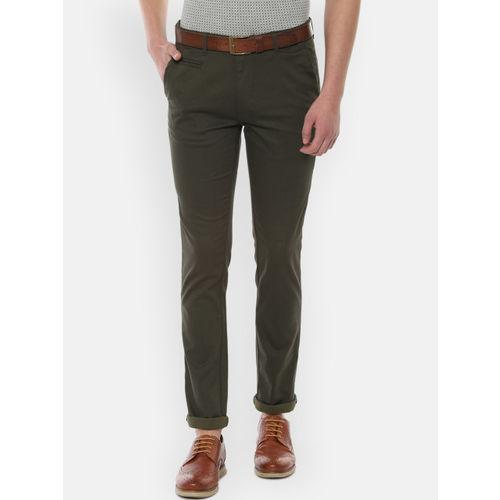 V Dot Men Olive Green Slim Fit Self Design Regular Trousers