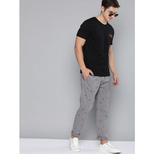 HERE&NOW Men Grey & Black Regular Fit Printed Chinos