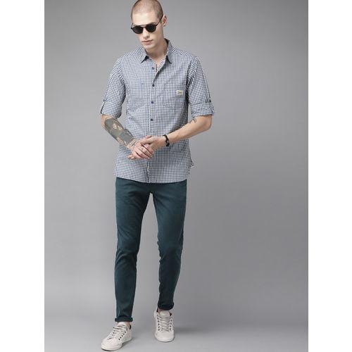 Roadster Men Blue Regular Fit Self-Striped Regular Trousers