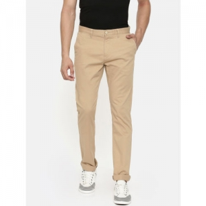 U.S. Polo Assn. Men Beige Slim Fit Self Design Regular Trousers