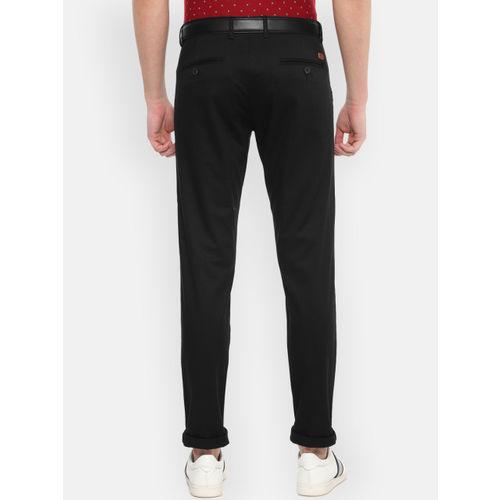 Van Heusen Sport Men Black Slim Fit Solid Regular Trousers