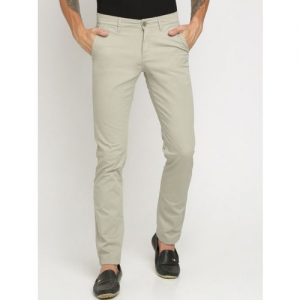 Crocodile Men Green Slim Fit Solid Regular Trousers