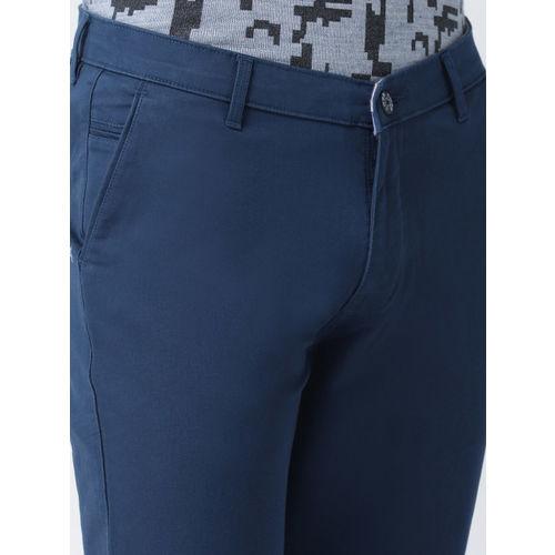 COBB Men Blue Solid Slim Fit Chinos