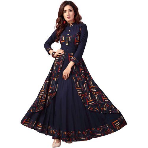 Madhuram textiles Women Printed Anarkali Kurta(Blue)