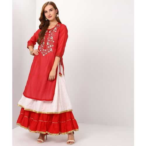 Biba Women Embroidered Flared Kurta(Red)