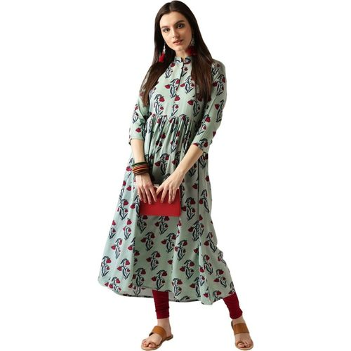 Libas Women Floral Print Anarkali Kurta(Light Green)