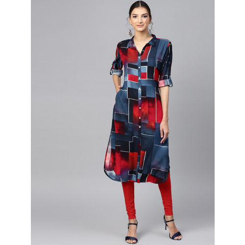 Shree Women Navy Blue & Red Printed Pathani Kurta