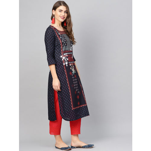 Biba Women Navy Blue & Red Printed Straight Kurta