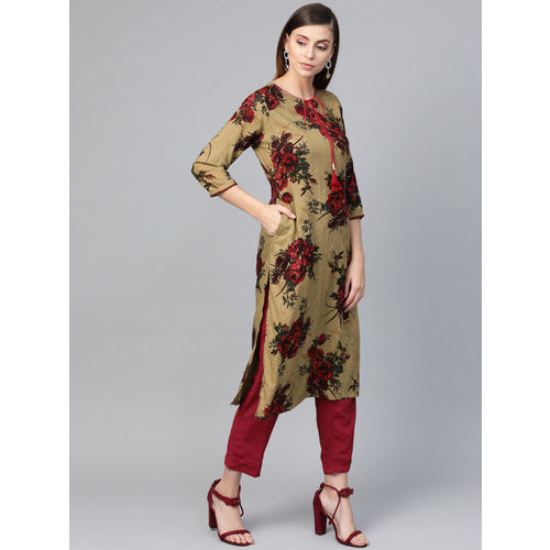 Shree Women Green & Red Printed Straight Kurta
