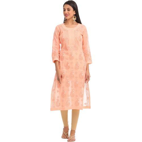 Ada Women Chikan Embroidery Straight Kurta(Orange)
