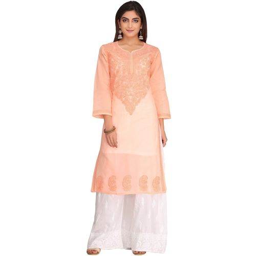 Ada Women Chikan Embroidery Straight Kurta(Orange)