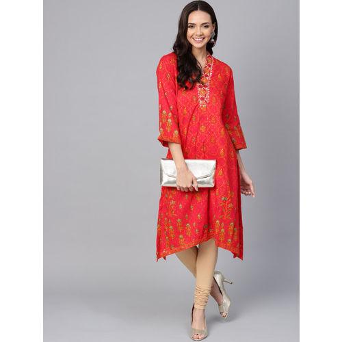 Biba Women Red & Orange Printed A-Line Kurta