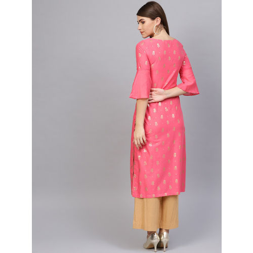 Biba Women Pink & Golden Printed Straight Kurta