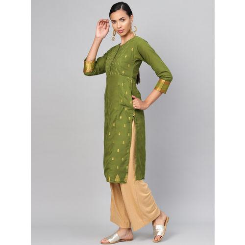 Biba Women Green & Golden Woven Design Straight Kurta