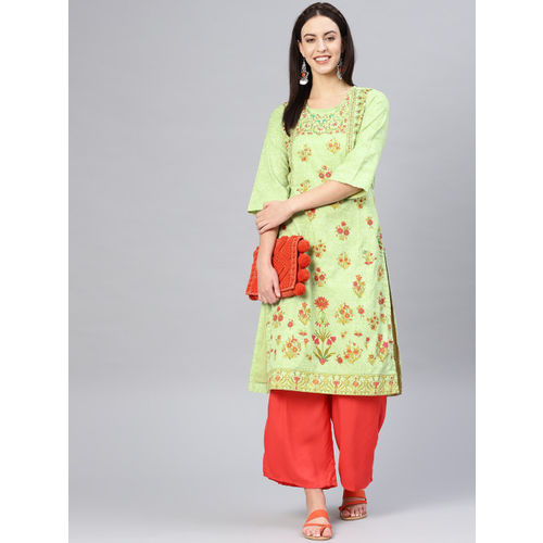 Biba Women Green & Red Printed Straight Kurta