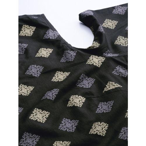 Anouk Women Black & Beige Printed Straight Kurta
