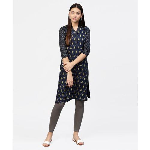 Jaipur Kurti Women Self Design Straight Kurta(Dark Blue)