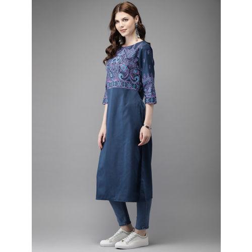 Anouk Women Navy Blue Printed Straight Kurta
