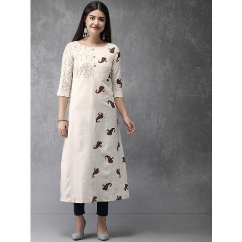 Anouk Women Off-White Printed Straight Kurta