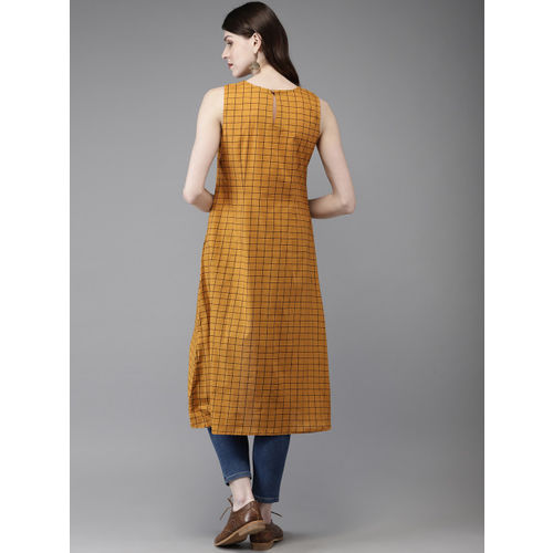 Anouk Women Mustard Yellow & Black Checked A-Line Kurta