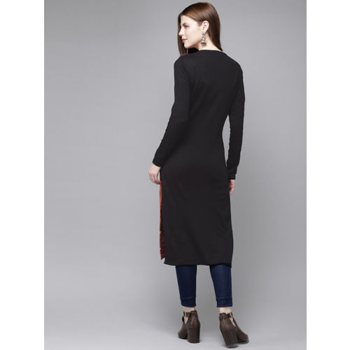 Anouk Women Red & Black Woven Design Sweater Kurta