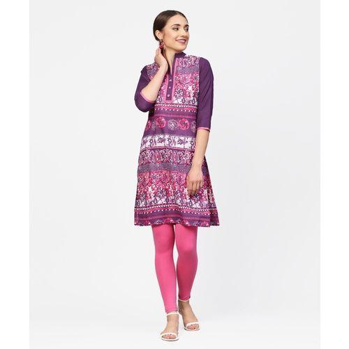 Jaipur Kurti Casual Printed Women Kurti(Purple, Pink, White)