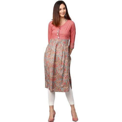 Jaipur Kurti Women Floral Print Straight Kurta(Grey, Pink)