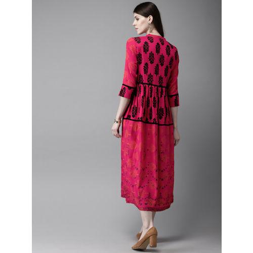 Anouk Women Pink & Black Printed A-Line Kurta