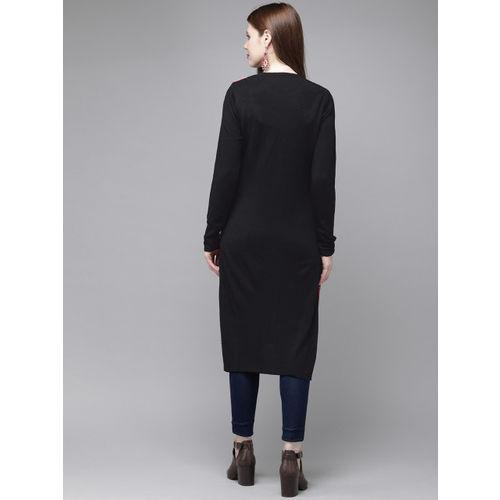Anouk Women Pink & Black Woven Design Sweater Kurta