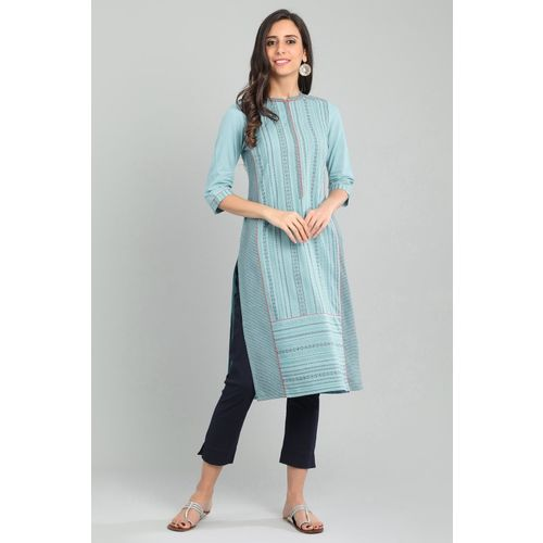 Aurelia Women Striped Straight Kurta(Light Blue)