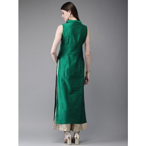 Anouk Women Green & Gold-Toned Printed Straight Kurta