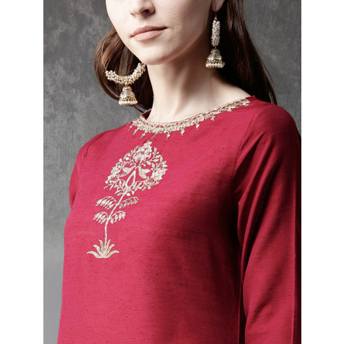 Anouk Maroon Cotton Yoke Design Straight Kurta
