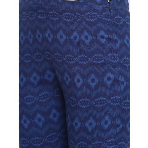 Rangriti Women Navy Blue Regular Fit Printed Cropped Trousers