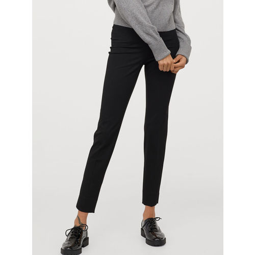 H&M Women Black Slim Stretch Trousers
