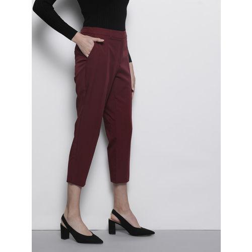 DOROTHY PERKINS Women Burgundy Regular Fit Solid Trousers