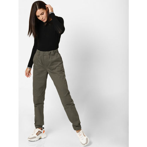 ONLY Women Olive Green Regular Fit Solid Joggers