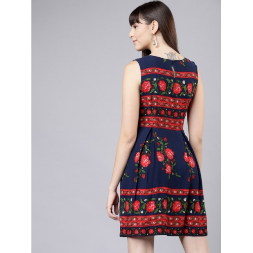 Tokyo Talkies Printed Navy Blue Fit and Flare Dress