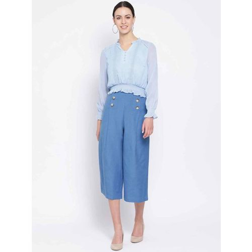 Oxolloxo Women Blue Regular Fit Solid Culottes