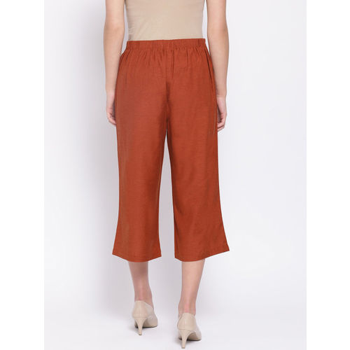 Oxolloxo Women Rust Regular Fit Solid Parallel Trousers