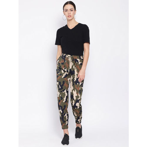 Oxolloxo Women Olive Green & Black Regular Fit Printed Joggers