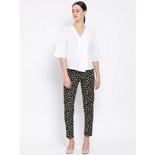 Oxolloxo Women Black & Yellow Regular Fit Printed Regular Trousers
