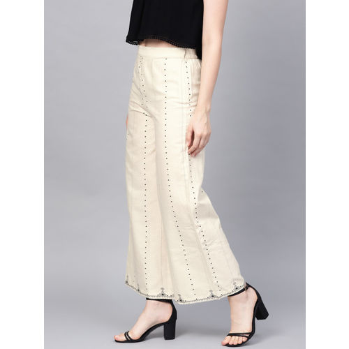 W Women Cream-Coloured & Black Regular Fit Printed Parallel Trousers