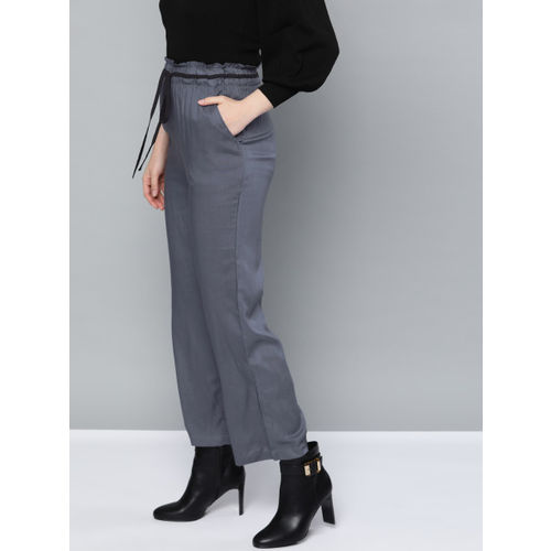 Trend Arrest Women Charcoal Grey Relaxed Straight Leg Loose Fit Solid Regular Trousers